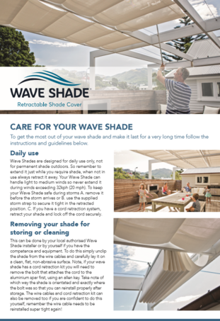Wave Shade After Care Brochure